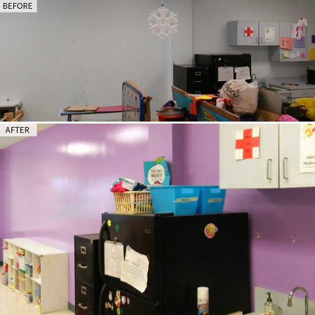 Before and after photo of Arch Painting's Charity.